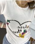 2500-10 Akkaya белая футболка женская с принтом стрейчевая (4 ед. размеры: S.M.L.XL): артикул 1119804