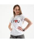 2502-10 Akkaya белая футболка женская с принтом стрейчевая (4 ед. размеры: S.M.L.XL): артикул 1119825