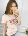2518-2 Akkaya розовая футболка женская с принтом стрейчевая (4 ед. размеры: S.M.L.XL): артикул 1119798