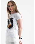 2504-10 Akkaya белая футболка женская с принтом стрейчевая (4 ед. размеры: S.M.L.XL): артикул 1119822
