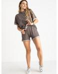 1444-4 Mishely коричневый женский спортивный костюм с шортами (4 ед. размеры: S.M.L.XL): артикул 1120072