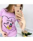 2500-7 Akkaya лиловая футболка женская с принтом стрейчевая (4 ед. размеры: S.M.L.XL): артикул 1119810