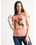 2570-2 розовая футболка женская с принтом (3 ед. размеры: S.M.L): артикул 1119146