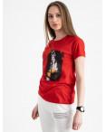 2504-3 Akkaya красная футболка женская с принтом стрейчевая (4 ед. размеры: S.M.L.XL): артикул 1119821