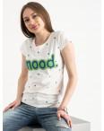 2588-11 Geso молочная футболка женская с принтом (4 ед. размеры: S.M.L.XL): артикул 1119242