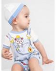 17064 Emotion Kids голубой комплект (комбинезон+шапочка) на мальчика 1-9 мес (6 ед. размеры: 62.62.68.68.74.74): артикул 1118186