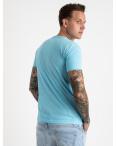 2616-13 голубая футболка мужская с принтом (4 ед. размеры: M.L.XL.2XL): артикул 1121023