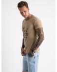 2613-11 бежевая футболка мужская с принтом (4 ед. размеры: M.L.XL.2XL): артикул 1120998