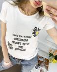 2519-10 Akkaya белая футболка женская с принтом стрейчевая (4 ед. размеры: S.M.L.XL): артикул 1119770