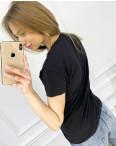 2517-1 Akkaya черная футболка женская с принтом стрейчевая (4 ед. размеры: S.M.L.XL): артикул 1119794