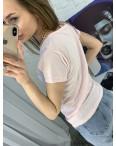 2401-2 светло-розовая футболка женская с принтом (4 ед. размеры: S.M.L.XL): артикул 1122361