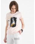 2504-2 Akkaya розовая футболка женская с принтом стрейчевая (4 ед. размеры: S.M.L.XL): артикул 1119818