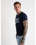2620-14 темно-синяя футболка мужская с принтом (4 ед. размеры: M.L.XL.2XL): артикул 1121052