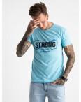 2612-13 светло-голубая футболка мужская с принтом (4 ед. размеры: M.L.XL.2XL): артикул 1120965