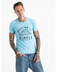 2605-13 светло голубая футболка мужская с принтом (4 ед. размеры: M.L.XL.2XL): артикул 1120918