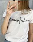 2595-10 белая футболка женская с принтом (3 ед. размеры: S.M.L): артикул 1121830