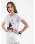 2516-10 Akkaya белая футболка женская с принтом стрейчевая (4 ед. размеры: S.M.L.XL): артикул 1119730