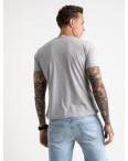 2619-5 светло-серая футболка мужская с принтом (4 ед. размеры: M.L.XL.2XL): артикул 1121044