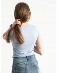 2588-8 Geso голубая футболка женская с принтом (4 ед. размеры: S.M.L.XL): артикул 1119243
