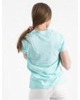 2516-4 Akkaya бирюзовая футболка женская с принтом стрейчевая (4 ед. размеры: S.M.L.XL): артикул 1119724