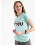 2502-4 Akkaya бирюзовая футболка женская с принтом стрейчевая (4 ед. размеры: S.M.L.XL): артикул 1119829
