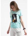 2504-4 Akkaya бирюзовая футболка женская с принтом стрейчевая (4 ед. размеры: S.M.L.XL): артикул 1119816