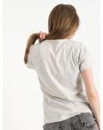 2502-5 Akkaya серая футболка женская с принтом стрейчевая (4 ед. размеры: S.M.L.XL): артикул 1119831
