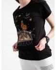 2516-1 Akkaya черная футболка женская с принтом стрейчевая (4 ед. размеры: S.M.L.XL): артикул 1119731