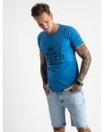 2613-12 голубая футболка мужская с принтом (4 ед. размеры: M.L.XL.2XL): артикул 1121001