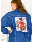Куртка джинсовая женская с нашитым принтом осенняя котоновая Xray 2950-14 : артикул 1111098