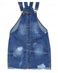 Y 0032-12 Relucky женский джинсовый комбинезон-юбка с рванкой и царапками весенний котоновый (25-30, 6 ед.): артикул 1088421