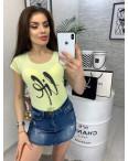0103-01 желтая MMC футболка женская со стразами стрейчевая (S-XL, 4 ед.): артикул 1090340