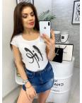 0103 белая MMC футболка женская со стразами стрейчевая (S-XL, 4 ед.): артикул 1090338