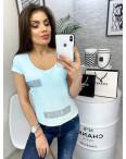 0118 голубая MMC футболка женская со стразами стрейчевая (S-XL, 4 ед.): артикул 1090351