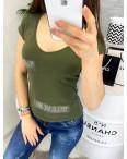0118-02 хаки MMC футболка женская со стразами стрейчевая (S-XL, 4 ед.): артикул 1090350