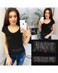 0118 черная MMC футболка женская со стразами стрейчевая (S-XL, 4 ед.): артикул 1090352
