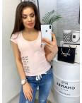 0116 розовая MMC футболка женская с принтом стрейчевая (S-XL, 4 ед.): артикул 1090342