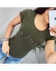 0102 хаки MMC футболка женская со стразами и жемчугом стрейчевая (S-XL, 4 ед.): артикул 1090336