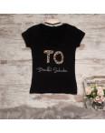 0122-02 черная MMC футболка женская с принтом стрейчевая (S-3,M, 4 ед.): артикул 1090354