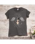 3200-1 темно-серая Akkaya футболка женская с принтом стрейчевая (S-XL, 4 ед.): артикул 1108846