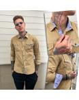 0409-03 YXC рубашка мужская вельветовая бежевая (M-XXL, 4 ед.): артикул 1109217