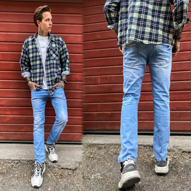 2336 Dark Blue джинсы мужские с царапками синие весенние стрейчевые (29-36, 8 ед.) Dark Blue: артикул 1109143
