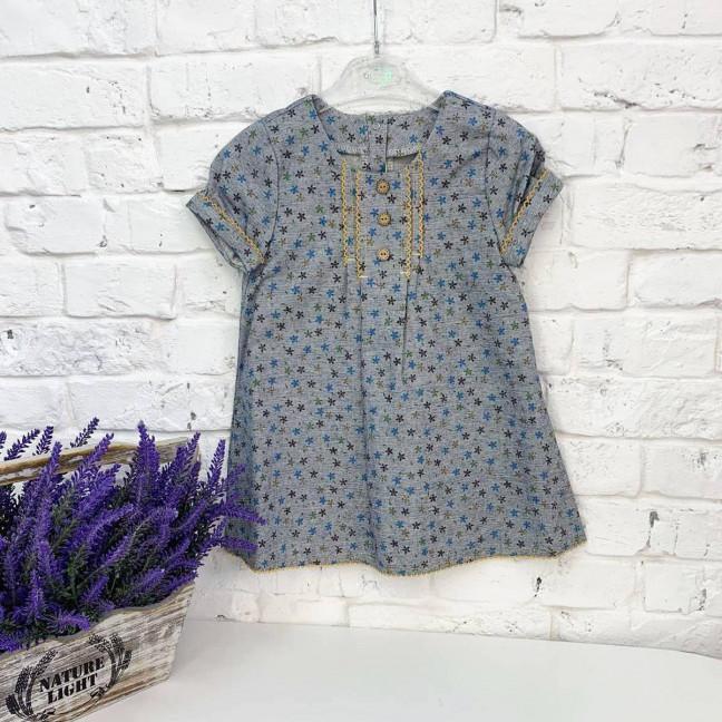 1325-31 платье льняное синее на девочку 2-4 года (2 ед.размеры: 92.104) Маленьке сонечко: артикул 1122636