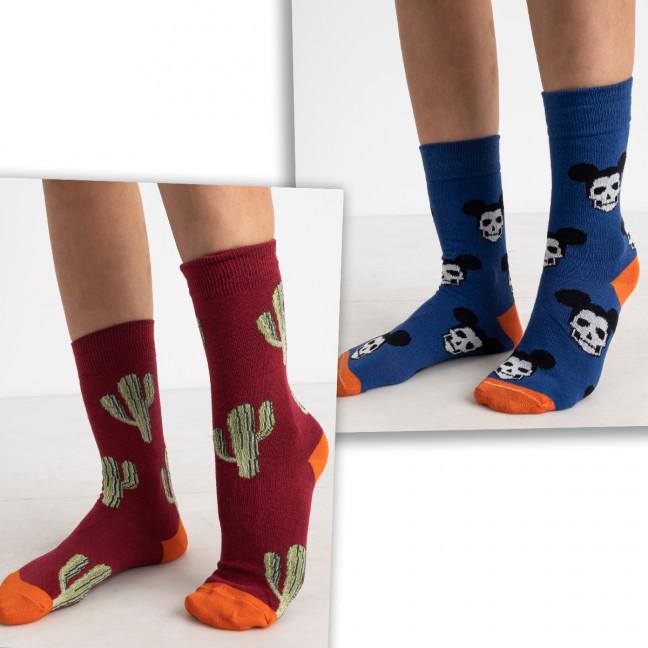 0052-99 носки цветные микс 2-х моделей (6 ед. размеры: 36-39 и 39-41) Носки: артикул 1125621