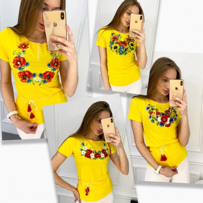 1820 желтая футболка-вышиванка женская микс моделей (5 ед. размеры: S.M.L.XL.2XL) Футболка: артикул 1121158