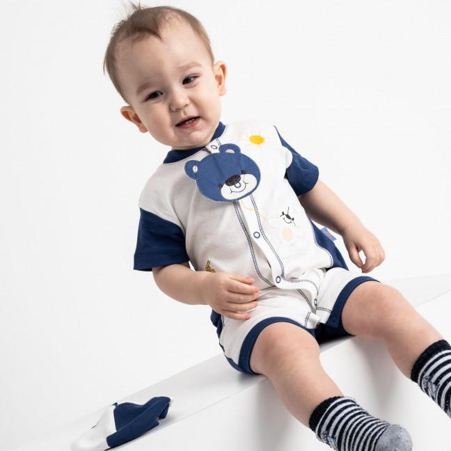 17067 Emotion Kids синий комлект ( комбинезон+шапочка) на мальчика 3-12 мес. (6 ед. размеры: 68.68.74.74.80.80) Emotion kids: артикул 1118181