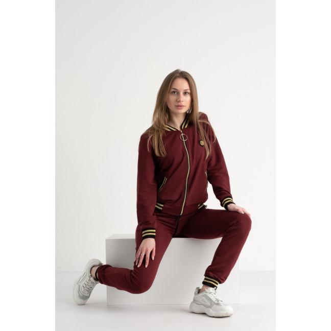 0210-2 бордовый костюм женский из двунитки ( 4 ед. размеры: 42.44.46.48) Костюм: артикул 1117618
