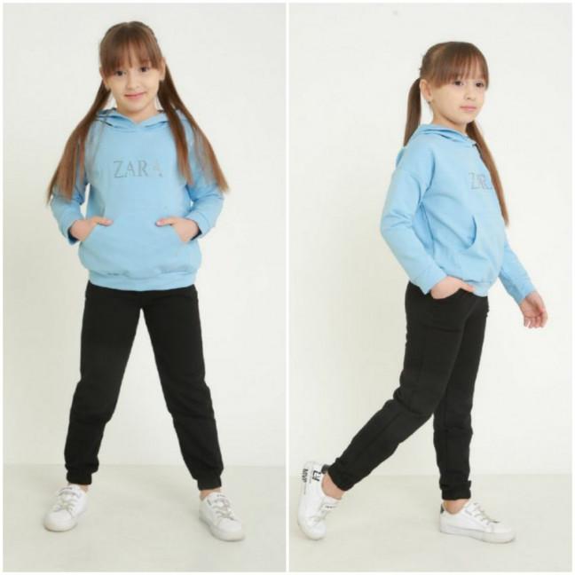 1290-1 голубой спортивный костюм на девочку 6-11 лет (3 ед. размеры: M.XL.2XL) Спортивный костюм: артикул 1120974