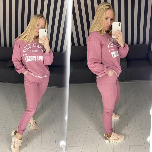 69064 розовый спортивный костюм женский из двунитки ( 3 ед. размеры: M.L.XL)  Спортивный костюм: артикул 1117566