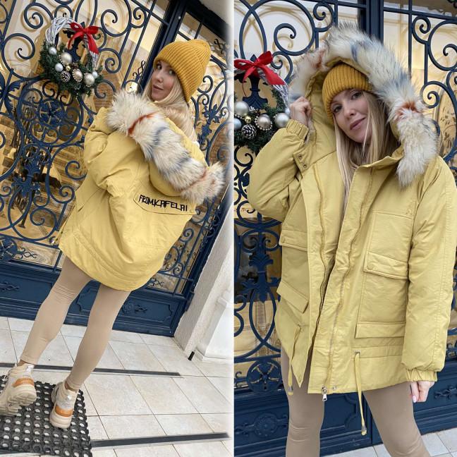 8905-3 H-YUYALAN желтая парка женская на меху (3 ед. размеры: M.L.XL) H-YUYALAN: артикул 1117295